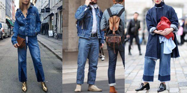 С чем носить джинсы осенью и зимой: С денимом