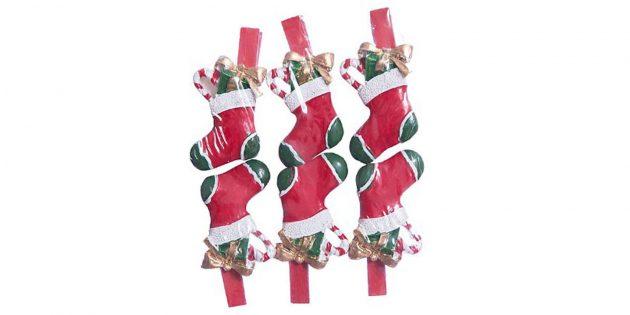 Новогодние игрушки: Носочки на прищепках