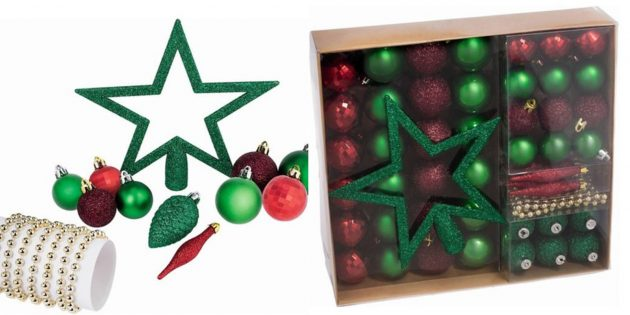 Новогодние игрушки: Набор с бусами и звездой-верхушкой