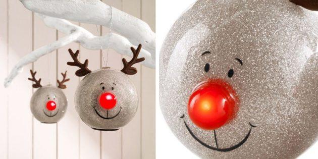 Новогодние игрушки: Шары со светодиодной подсветкой