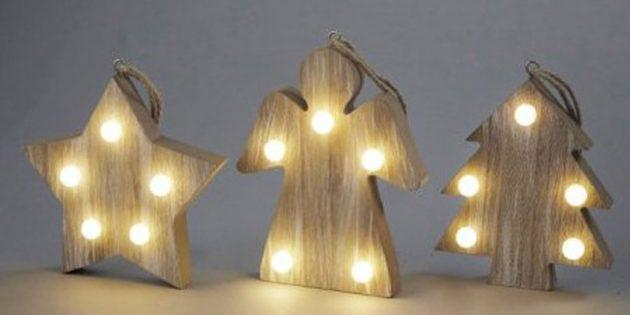 Новогодние игрушки: Набор светодиодных подвесок