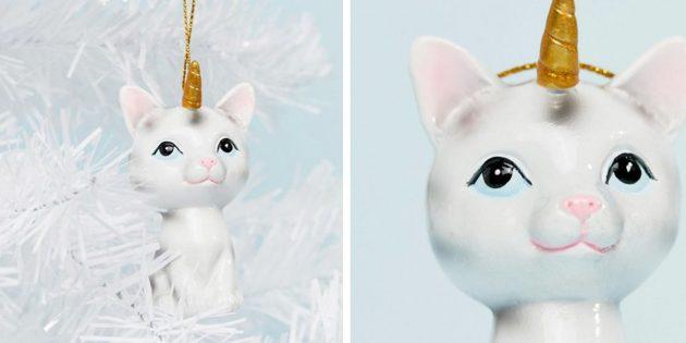 Новогодние игрушки: Кот-единорог на ёлку