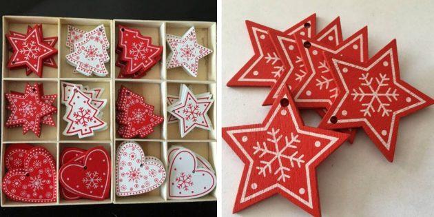 Новогодние игрушки с AliExpress: сердечки и ёлочки