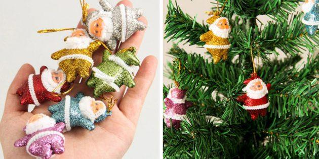 Новогодние игрушки с AliExpress: набор Санта-Клаусов
