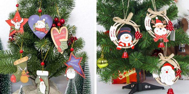Новогодние игрушки с AliExpress с бусинами и колокольчиками