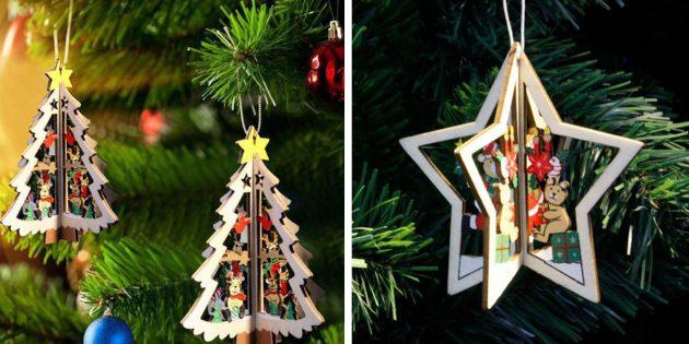 Новогодние игрушки с AliExpress: Объёмные ёлочки и звёзды