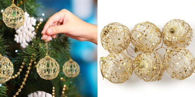 Новогодние игрушки с AliExpress: Плетёные шары