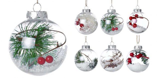 Новогодние игрушки с AliExpress: шары со снегом и ягодами