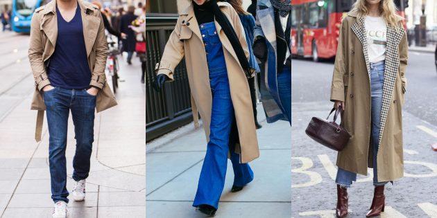 С чем носить джинсы осенью и зимой: С тренчем