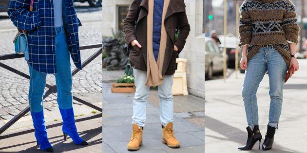 С чем носить джинсы осенью и зимой: Заправленными в сапоги или ботинки