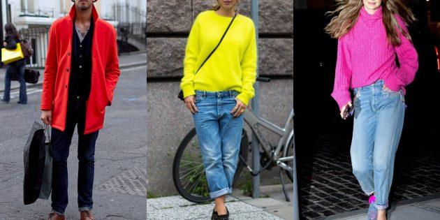С чем носить джинсы осенью и зимой: С кислотным свитером или пиджаком