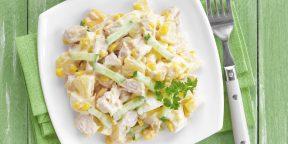 10 очень вкусных салатов с ананасом