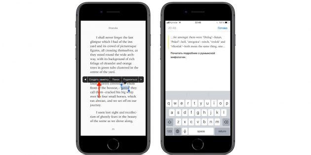 iBooks в iPhone и iPad: заметки