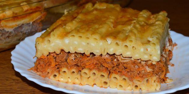 Рецепты: Запеканка с фаршем и макаронами