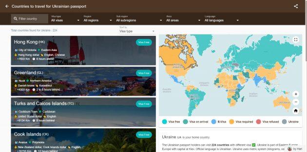 Планирование путешествия: Visa List