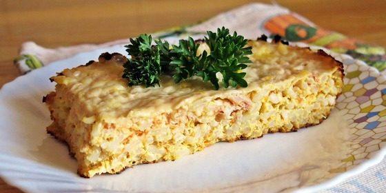 Рецепты: Запеканка с фаршем, рисом и морковью