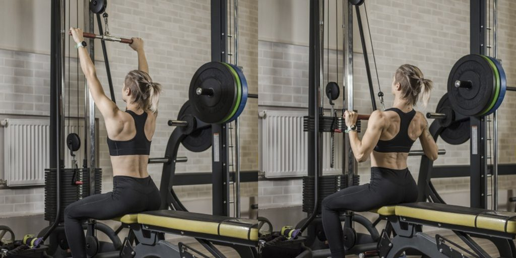 Тренировка плеч в тренажерном зале для девушек
