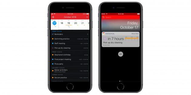 Приложения с поддержкой быстрых команд Siri в iOS 12: Fantastical