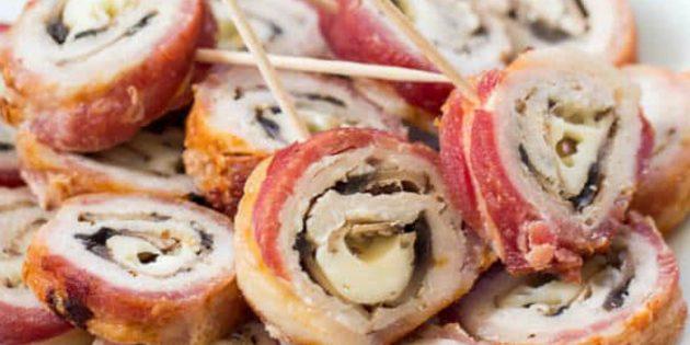 Свинина в духовке: Рулетики из свинины в беконе с начинкой из грибов и сыра