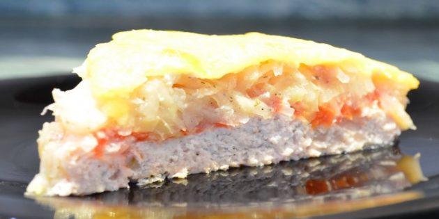 Рецепты: Запеканка с фаршем, картошкой, помидорами и болгарским перцем