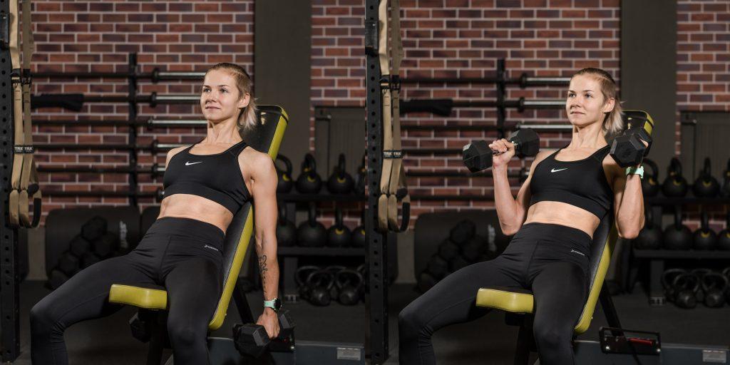 Упражнения с гантелями: Подъёмы на бицепс на лавке