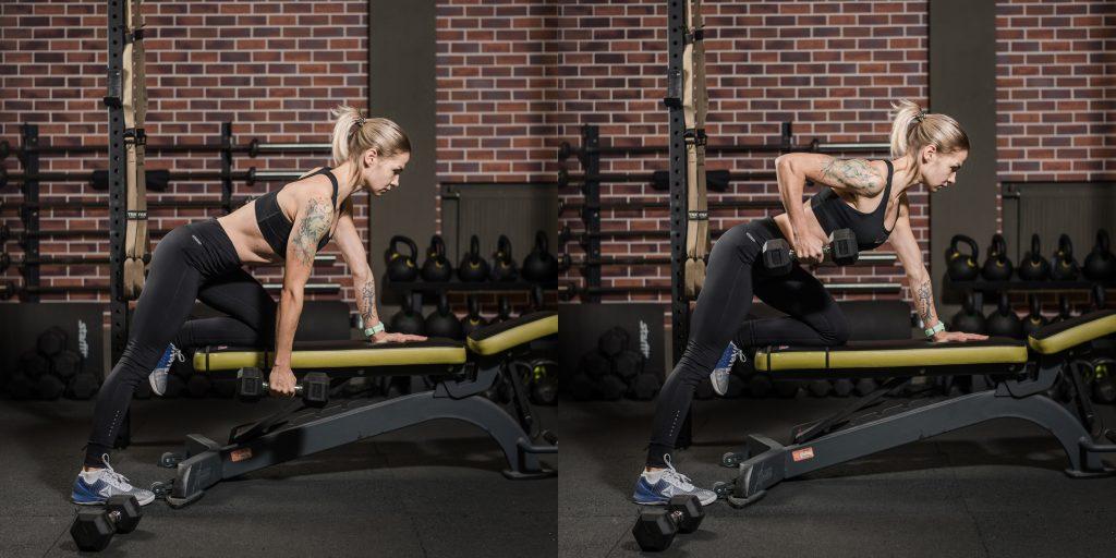 Упражнения с гантелями: Тяга гантели в поясу в наклоне