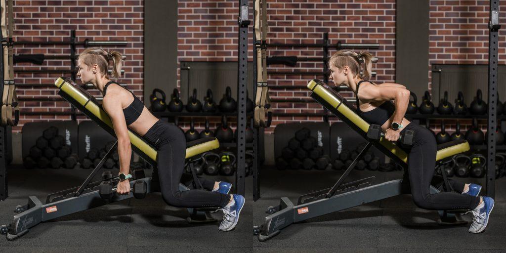 Упражнения с гантелями: Тяга гантелей на наклонной скамье