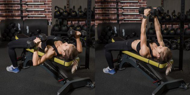Упражнения на грудные мышцы: Жим гантелей лёжа
