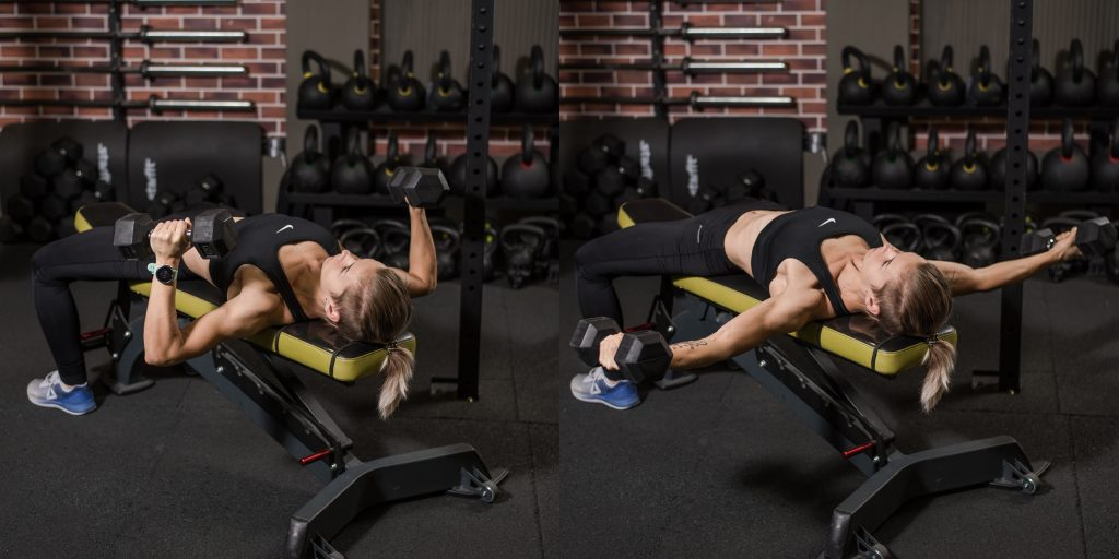 Упражнения с гантелями: Разведение гантелей из прямого угла
