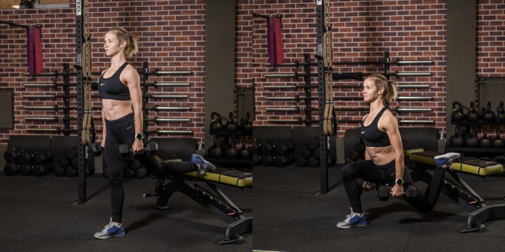 Упражнения с гантелями: Болгарские сплит-приседы с гантелями