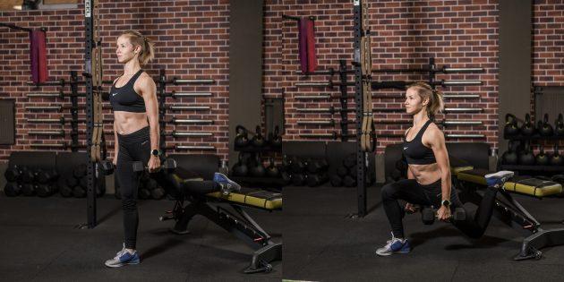 Упражнения на косые мышцы живота: Болгарский сплит-присед с весом