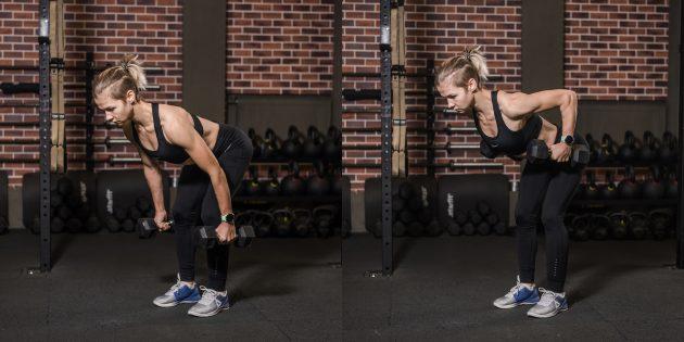 Упражнения для пожилых: тяга гантелей к поясу