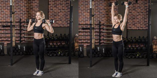 Упражнения на плечи: жим гантелей вверх стоя