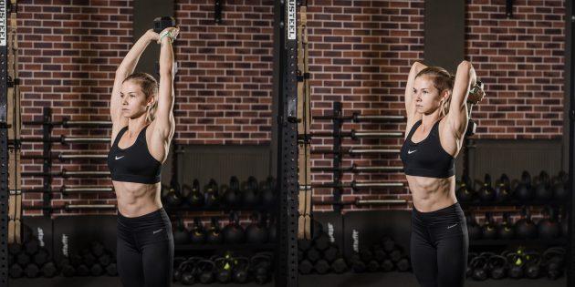 Лучшие упражнения на трицепс: Жим гантели из-за головы