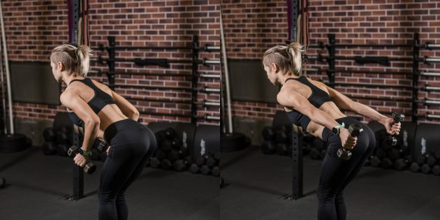 Лучшие упражнения на трицепс: Разгибание рук с гантелями в наклоне
