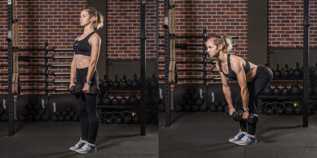 Упражнения для пожилых: становая тяга с гантелями