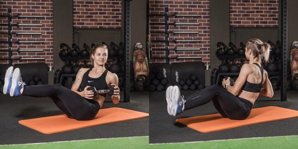 Упражнения с гантелями: Русские скручивания с гантелей