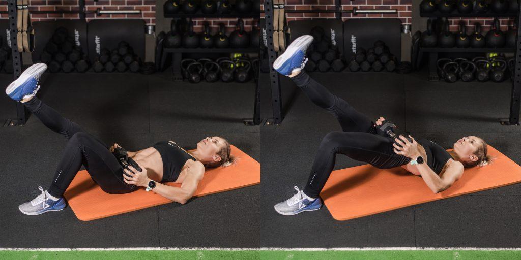 Упражнения с гантелями: Ягодичный мостик на полу с гантелей