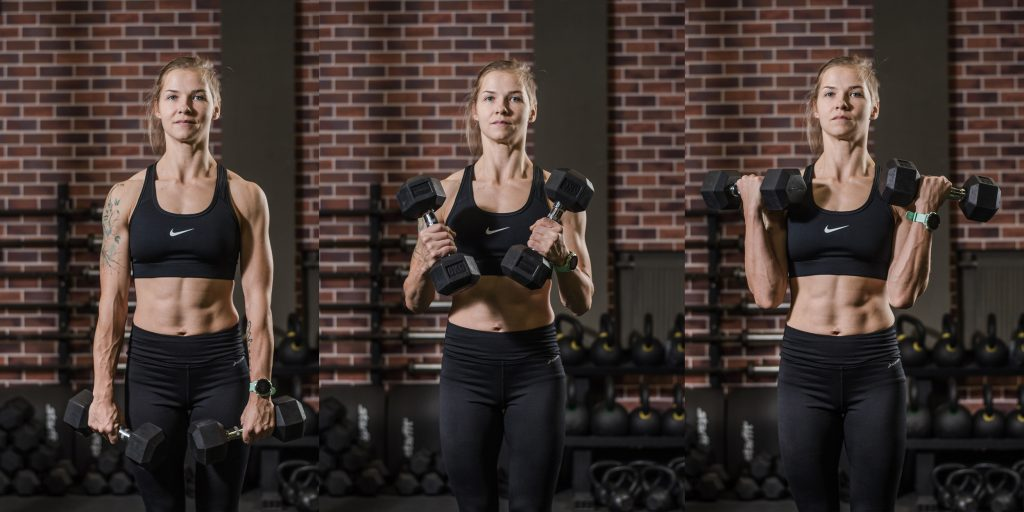 Упражнения с гантелями: Подъёмы на бицепс