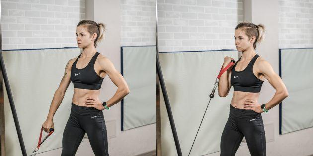 Упражнения на бицепс: сгибание на бицепс в кроссовере