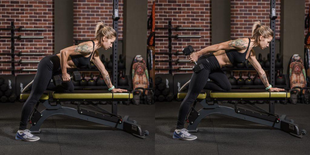 Упражнения с гантелями: Разгибания на трицепс с опорой на лавку