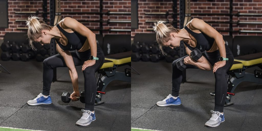 Упражнения с гантелями: Концентрированные подъёмы на бицепс