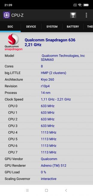 Обзор Xiaomi Mi 8 Lite: CPU-Z (SOC)