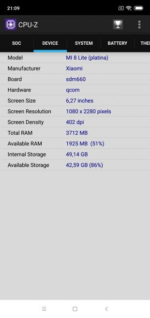 Обзор Xiaomi Mi 8 Lite: CPU-Z (Device)