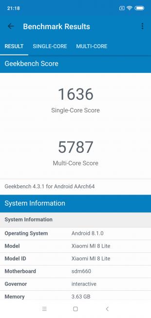 Обзор Xiaomi Mi 8 Lite: Geekbench