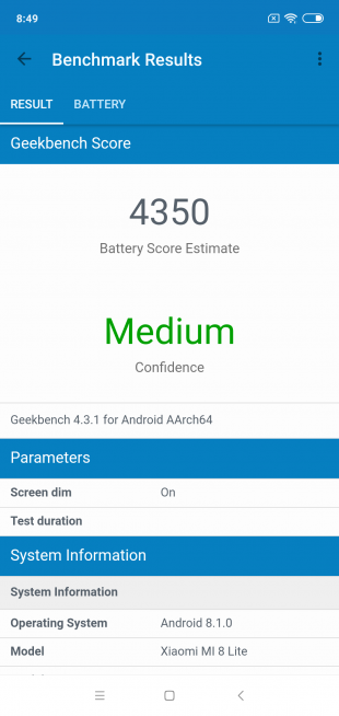Обзор Xiaomi Mi 8 Lite: Result