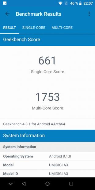 UMIDIGI A3: Geekbench