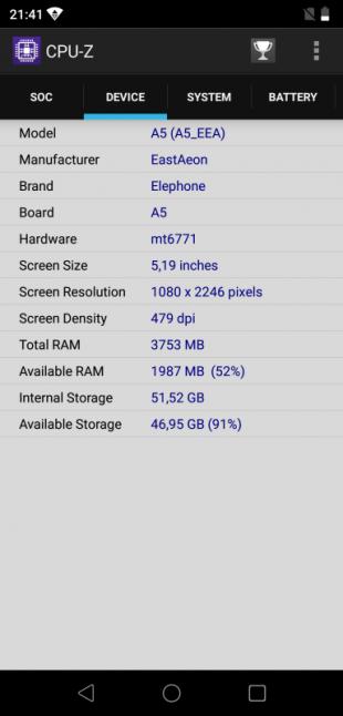 Elephone A5: CPU-Z (Device)
