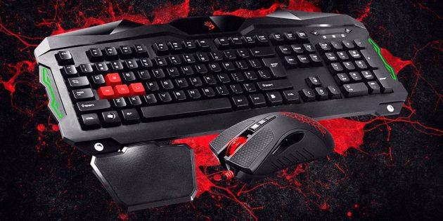 Новогодняя распродажа в Tmall: Игровая клавиатура + мышь A4Tech Bloody