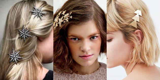 Причёски на Новый год: Укладка с крупными аксессуарами